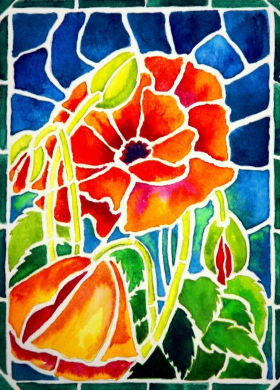 Spring Poppies in Stained Glass